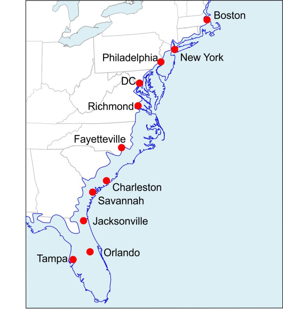 Eastern USA coastline if we have Miocene-like sea level rise