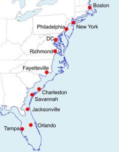 Eastern USA coastline if we have Miocene-like sea level rise